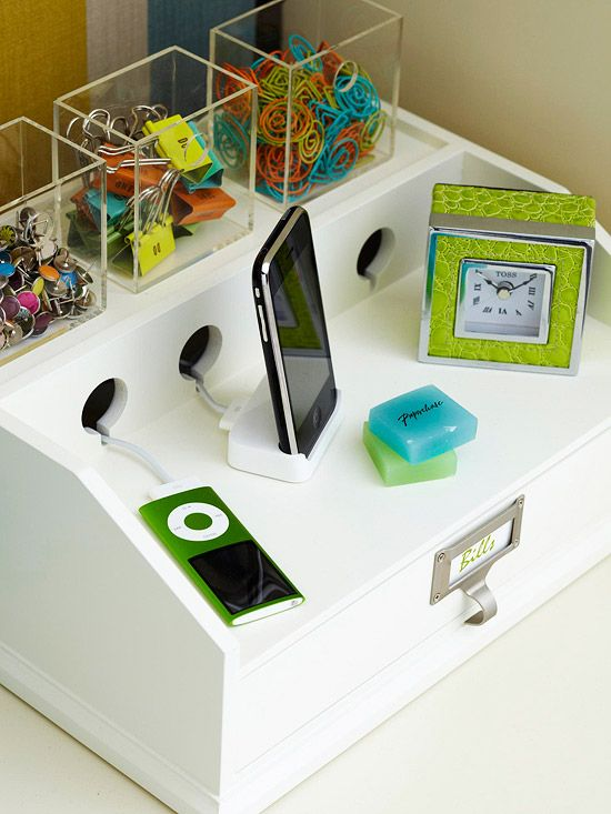 Never again forget your cell phone. Add a charging station to your entryway and it will be right there to grab as you walk out the door. A unit such as this one can charge several devices at once and also keeps cords neatly tucked away./