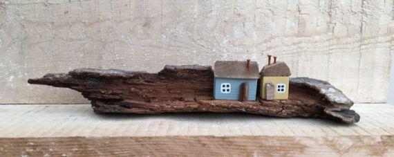 Little wooden Houses Driftwood Art Coastal Décor Miniature
