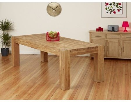 2.4 Metre Oak Dining Table Chunky Legs - 1home - Large Oak Dining Table - Solid Oak Living Room Table - Chunky Oak Dining Table - Oak Dining Table UK