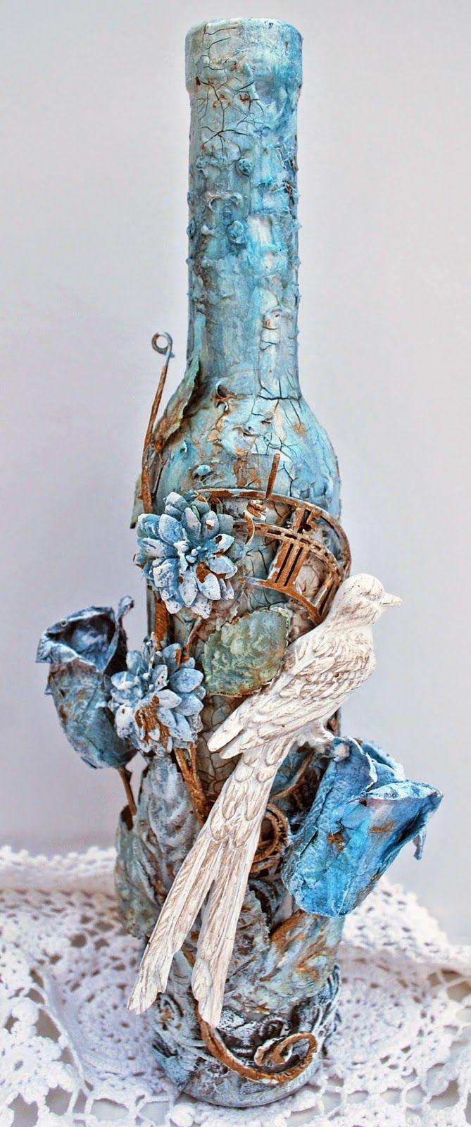 Altered Wine Bottle - Flying Unicorn Playdate Thursday ♡