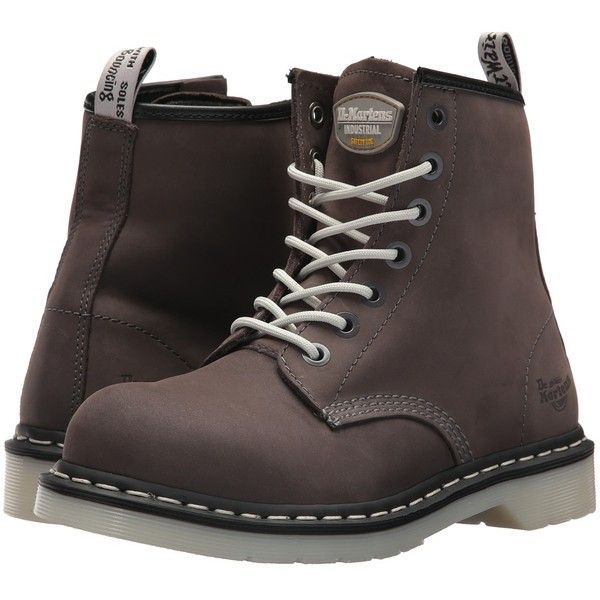 Dr. Martens Work Maple Steel Toe 7-Eye Boot (Grey) Women's Work Boots ($140) ❤ liked on Polyvore featuring shoes, boots, ankle boots, safety toe work boots, laced up boots, lace-up ankle boots, lace up work boots and grey ankle boots