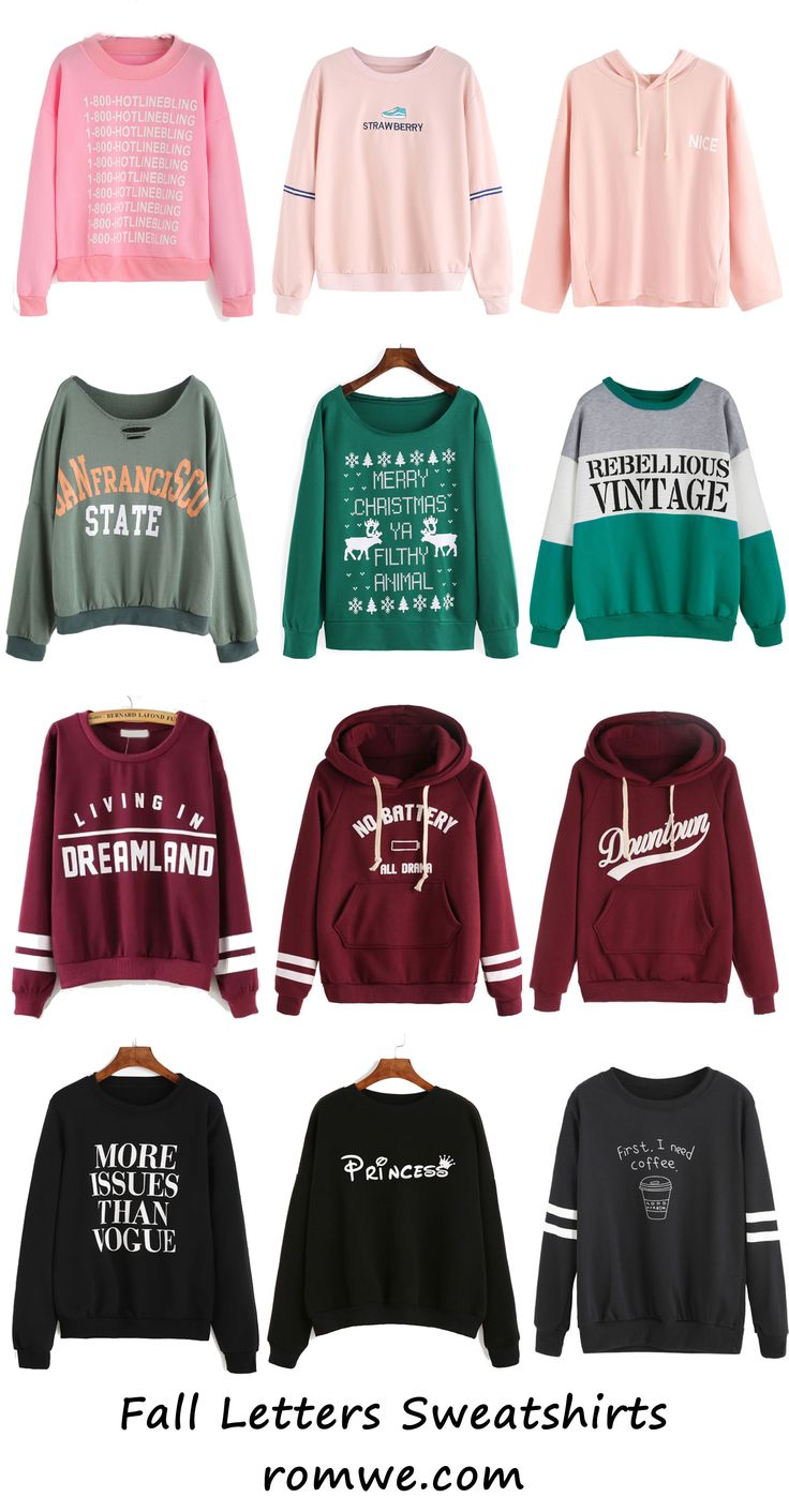 Fall Chic Letter Sweatshirts from rowme.com - soft material and low price