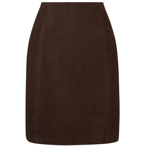 hobbs nena suede skirt chocolate 260 liked on polyvore
