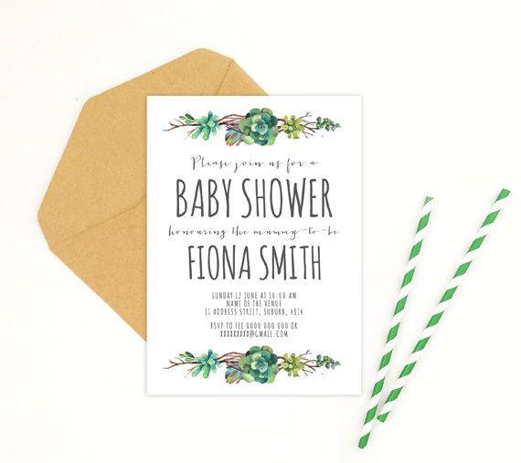 Succulent Wreath Baby Shower Bridal Shower by FionaMalcomsonStudio