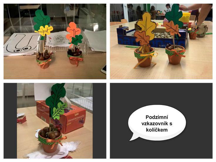 Podzimní vzkazovník - květináč, kolíček, přírodniny