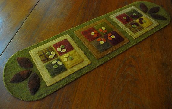 Primitive folk art wool applique quilt block  table runner candle mat penny rug felted hand dyed wool mill dyed wool plaid wool