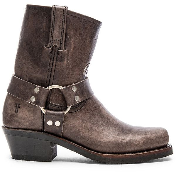 Frye Harness Boot ($300) ❤ liked on Polyvore featuring shoes, boots, ankle boots, harness boots, leather harness boots, leather bootie and short boots