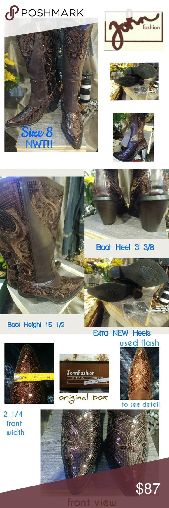👢 🆕WT!! JohnFashion Mid-Calf Boots Embroidered Sequence  Ladies Cowgirl Chic Boots Size 8 Zipper length 13 3/8 Height 15 1/2in Front width 2 1/4 Heel 3 3/8 in  NEW With Tags, Never been used Keep in excellent condition in original box. Front view of boots i took.a.flashed picture to get a detailed of the sequence, the boot looks light brown but in deed they are dark brown.  Paid 150.00 No low balling and no trades. Thanks JOHNFASHION Shoes Heeled Boots
