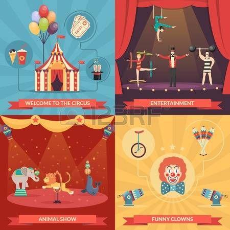 Circo concepto de diseño 2x2 espectáculo conjunto de payasos divertidos de entretenimiento y rendimiento con formación fuerte de los animales y acróbatas ilustración vectorial plana Vectores