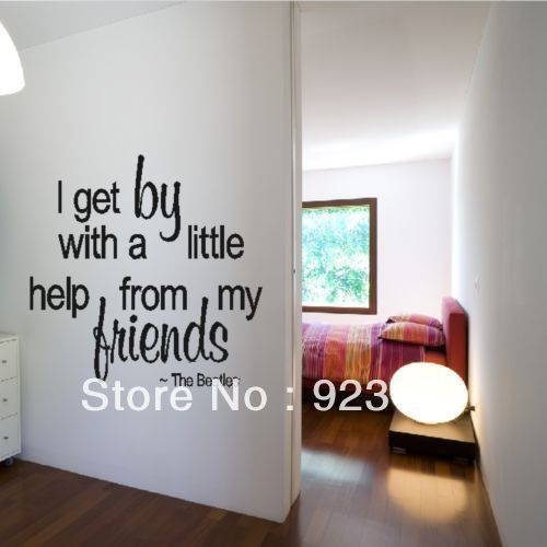 Free shipping Hot Friends The Beatles Quote Wall Stickers Decal DIY Home Decoration Wall Mural Removable Room Stickers 42x42cm $13.50