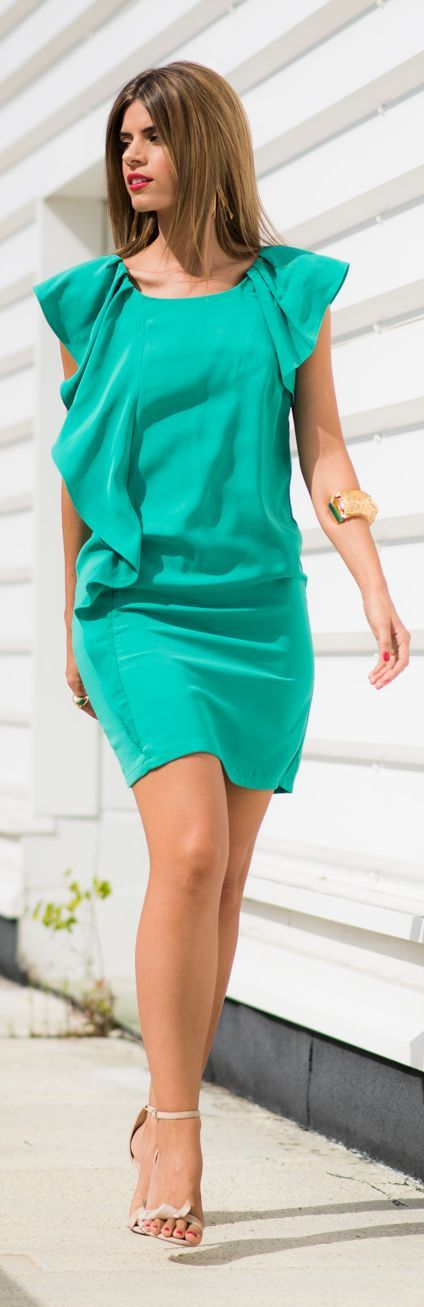 Emerald Ruffle Detail Little Dress by Ms Treinta