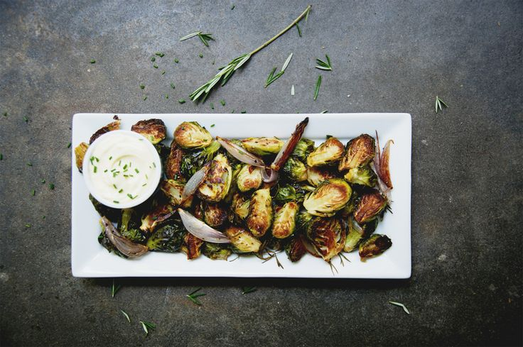Rosemary Roasted Brussel Sprouts with Garlic Aioli