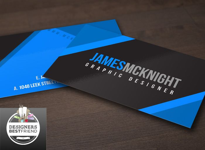 Free Black and Blue Corporate Business Card Template