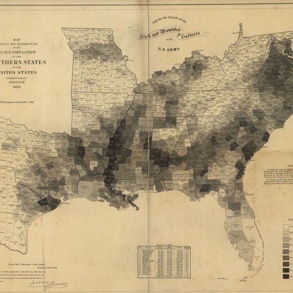 "#onthisday, July 22, 1862, Abraham Lincoln presented the proposed Emancipation Proclamation to his Cabinet. They decide to wait for a military victory to release the proclamation. ""Map showing the distribution of the slave population of the southern states of the United States."" from the @librarycongress  #emancipation #cartography #infographic #data #emancipationproclamation #lincoln #otd"