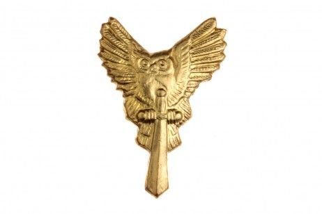 LAPEL PIN BADGE MAIN INTELLIGENCE DIRECTORATE (OWL WITH A SWORD). The lapel pin badge is made of a goldish metal. Without enamel. It represents a miniature relief image of a soaring owl which holds a sword in its paws with a handle upward.  The image of the owl with a sword appeared on the medal devoted to the 50th anniversary of Spetsnaz GRU. #russian #military #pin #badge #gifts #souvenirs #owl #sword #spetsnaz #gru #intelligence