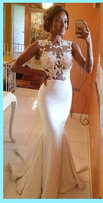 Gorgeous Mermaid Prom Dresses,Hot Sale Sexy White Lace Appliques Ruffles Floor Length Evening Gow by fancygirldress, $159.00 USD