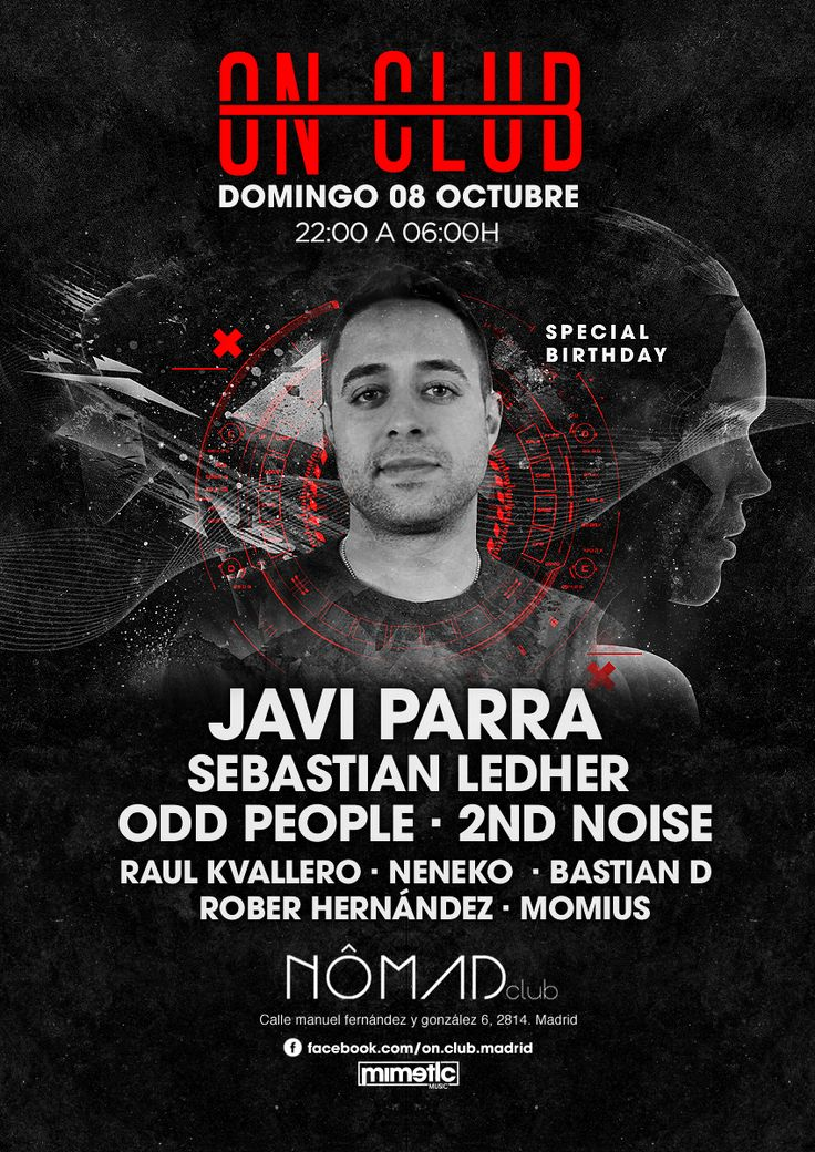 ON CLUB. ARTWORK  Club Party | Djs House | Electro | Dance | Comercial | Madrid | Clubbing | Tech | Flyer | Music Poster | Club | Techno | Party flyer | Techno music