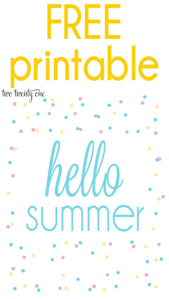 FREE summer printable!  3 different colors to choose from!