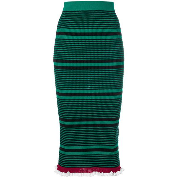 Kenzo striped knit fitted skirt (€380) ❤ liked on Polyvore featuring skirts, green, high rise skirts, frilled skirt, frilly skirt, high waisted knee length skirt and frill skirt