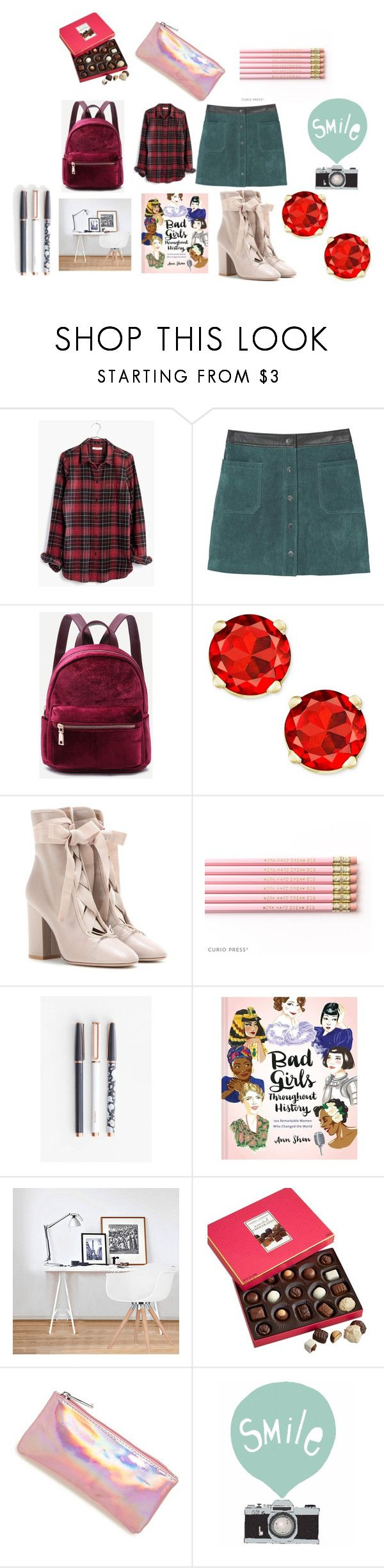 """school"" by knmaem on Polyvore featuring Madewell, MANGO, Valentino, U Brands, Chronicle Books, Ciel, Harry London and Bari Lynn"