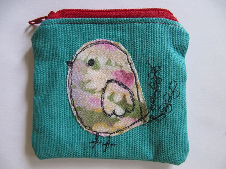 Bird Applique Coin Purse, Free Motion Machine Embroidery, Small Makeup Bag, Coin or Makeup Bag, Blue, Red Zip, Lined, Vintage fabric. by BobbyandMeSew on Etsy
