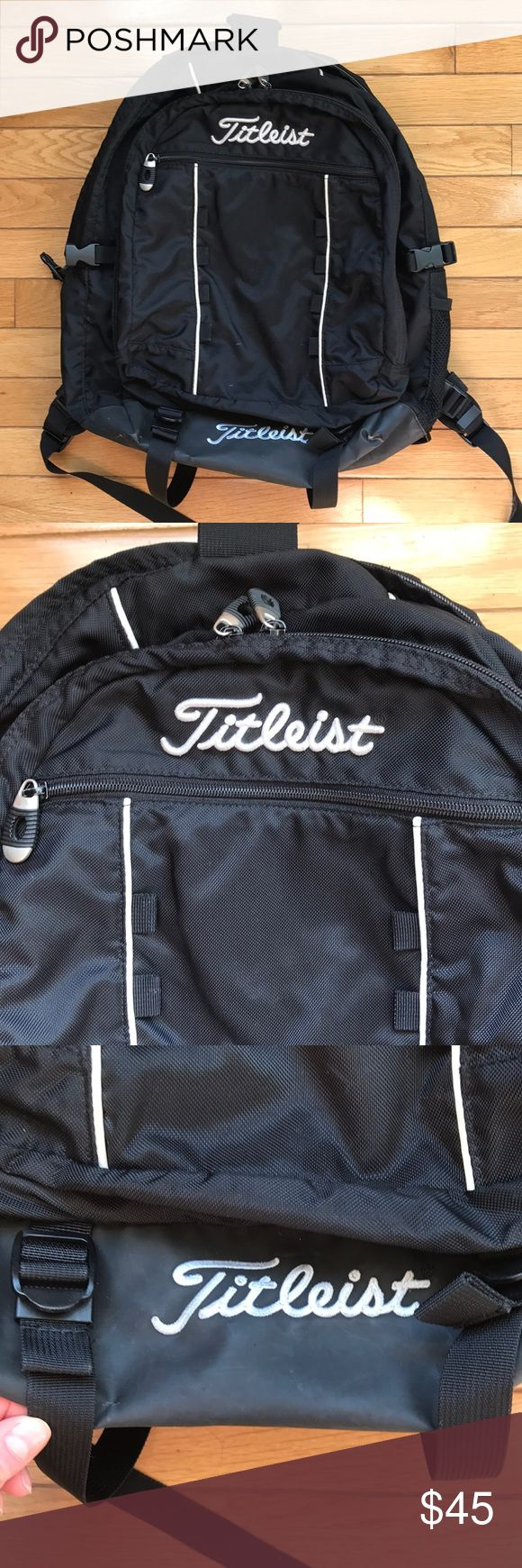 """TITLEIST GOLF BACKPACK / BAG w/ COMPARTMENTS Titelist Golf Backpack / Bag. Black with white script. About 19"""" H, 17"""" L, and 9"""" wide. One front external pocket, one side water bottle compartment, one mid large pocket with multiple compartments (see image), and main compartment. Padded back area for comfort. Bottom of bag has scuffs that are a brownish white color - see image. Otherwise the bag is in great condition! Adjustable straps. Titleist Bags Backpacks"""