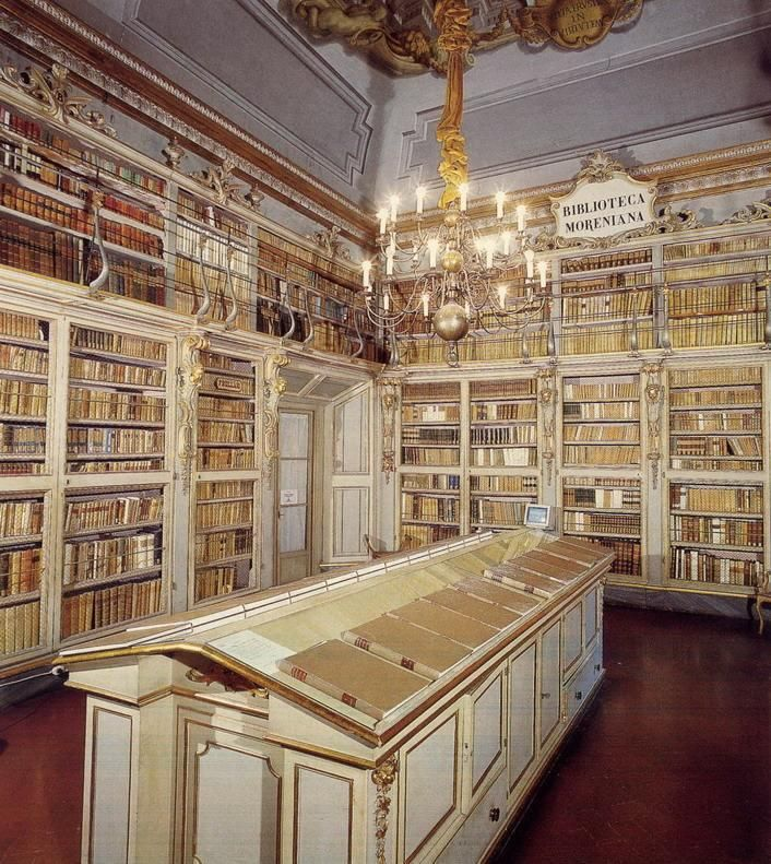 secretsafebooks:  Moreniana Library in Florence, Italy. Founded in the 18th century by Domenico Moreni, passionate bibliophile who devoted his life to collecting and studying books. The library specializes in books on the history of Florence and Tuscany. Via ~ http://web.unife.it/progetti/geometria/storia/Abel_it.html