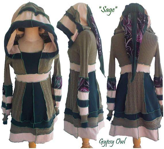 Gypsy Owl Sage Up-cycled Woman's Dress festival fashion