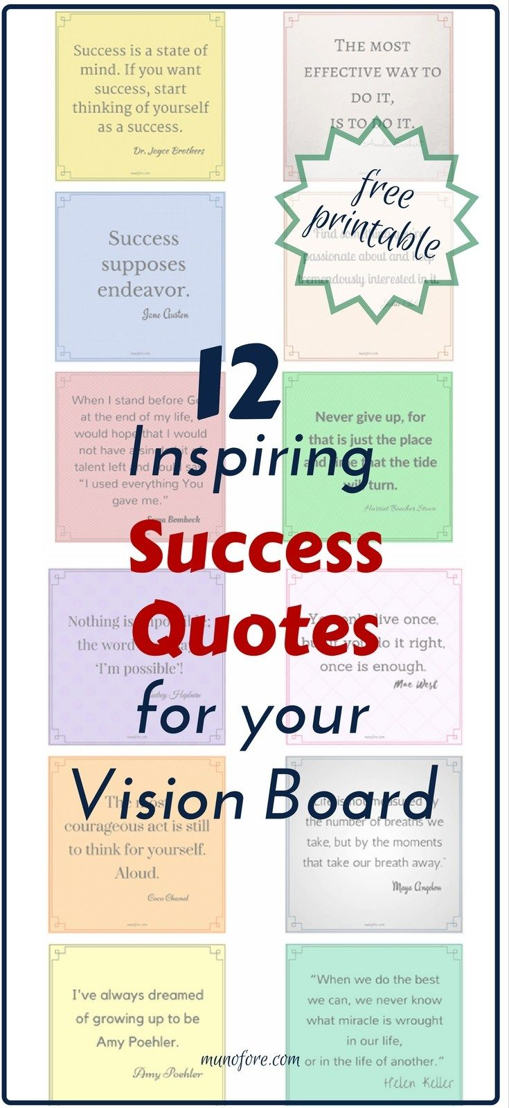 How to make a simple Vision Board plus Free Printable: Inspirational success quotes