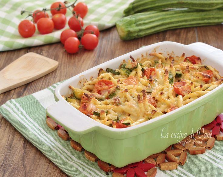 TROFIE AL FORNO CON ZUCCHINE E POMODORINI con stracchino e scamorza ricetta pasta al forno facile veloce gustosa da fare in estate da mangiare anche fredda
