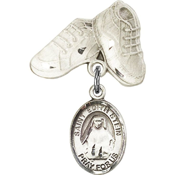 Sterling Silver Baby Badge with St. Edith Stein Charm and Baby Boots Pin 1 X 5/8 inches -- Details can be found by clicking on the image.