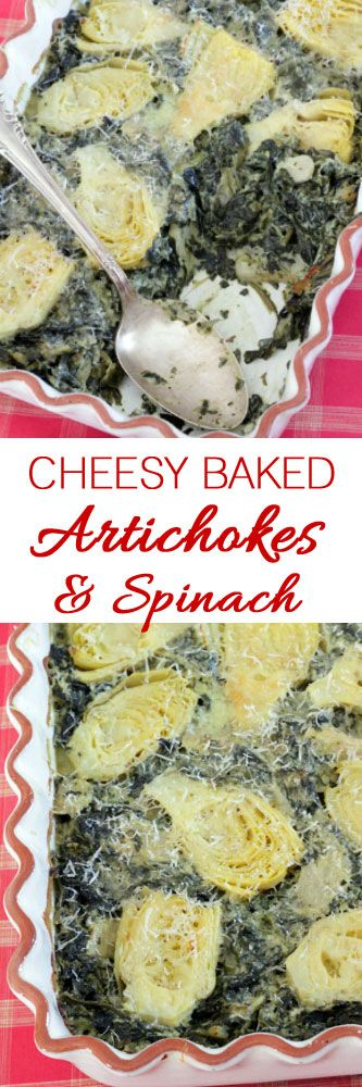 Cheesy Baked Artichokes and Spinach #artichokes #spinach #casseroles