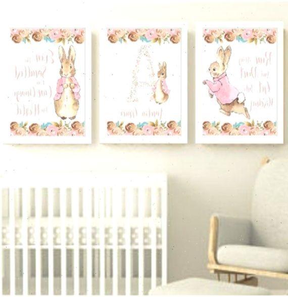 Bunny Art Prints Peter Rabbit Beatrix Potter Baby Girl Nursery Decor Print Set