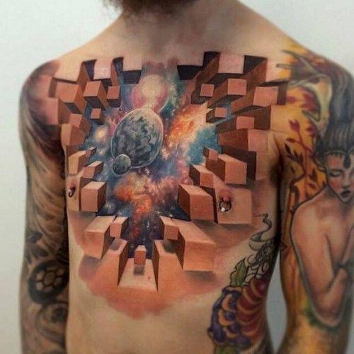 3D татуировки особенно впечатляют и могут легко стать интернет — феноменов. Этот умопомрачительный кусок космического пространства на груди выглядит потрясающе, создан тату-мастером Джесси Риксом (Jesse Rix).