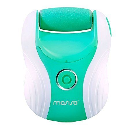 Mosiso Rechargeable Electric Callus Remover, Foot File for Scrubbing Feet,Pedicure Tool - Effectively Buffs Away Dead, Hard Skin, Dry Callused Feet and Cracked Heels - 3 Rollers Included, Green