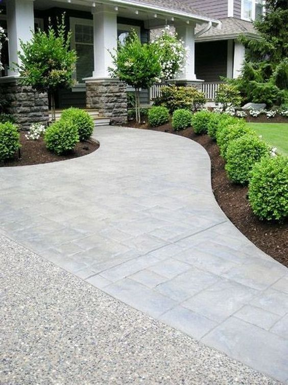 Inspiring Landscaping Ideas - Beneath My Heart Love the shape of this sidewalk…
