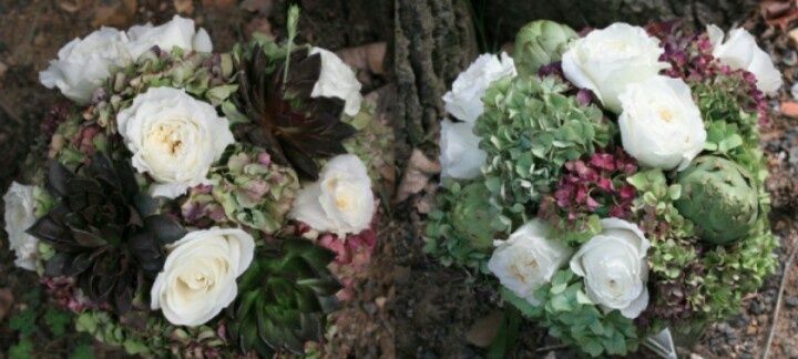 Flowers centerpieces by dekor indonesia with echeveria,rose,hydragea,ginger snap