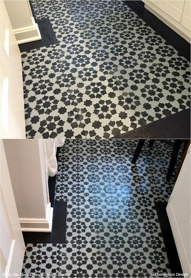 618 best wall furniture stencils images on pinterest for Painted vinyl floor ideas