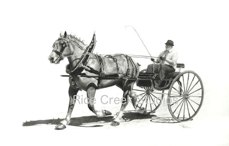 carriage horse  equestrian decor  equestrian art  draft horse