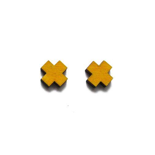 Cross earrings by ALZBETA DESIGN Earrings are made of 2mm plywood.