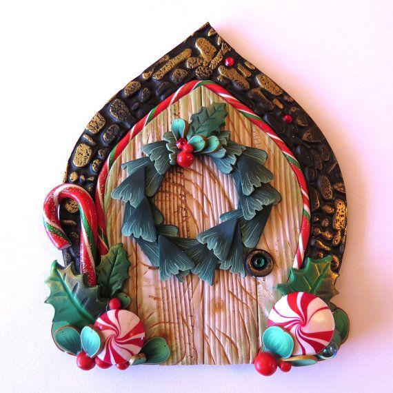 Christmas wreath door pixie portal miniature elf door for Fairy door wall art
