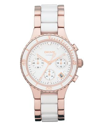 DKNY Watch, Women's Chronograph Rose Gold-Tone Stainless Steel and White Ceramic Bracelet 38mm NY8504 - All Watches - Jewelry & Watches - Macy's