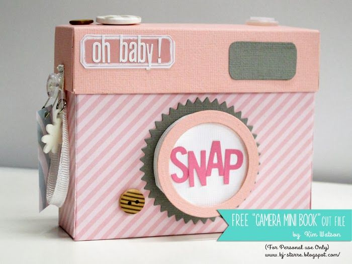 Camera shaped mini book made with our FREE #cutfile download by kim watson ★ paper crafts ★ designs