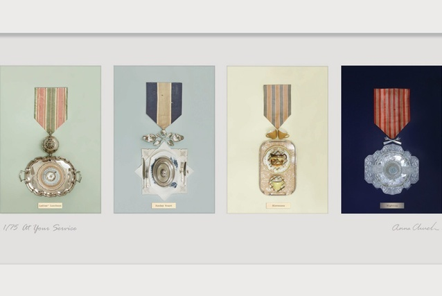"""Exquisite series by Anna Church called 'At Your Service'. """"The medals you see from a distance actually work themselves into, on closer inspection, intricatelly styled collections of tea plates, trays, doilies, et al."""" [Urbis Magazine]"""