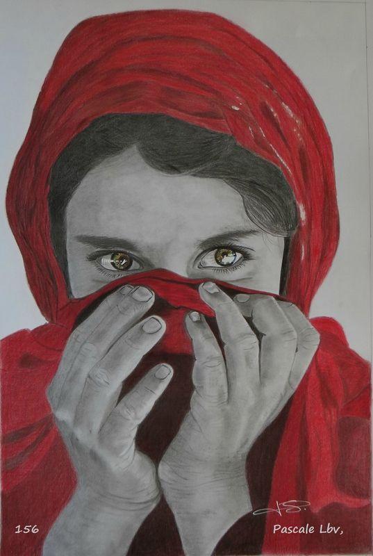 Jeune fille Afghane, Dessin réalisé au crayon graphite et crayons couleur Polychromos
