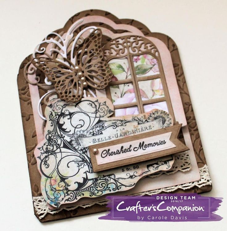 Tag Card made using Sara Signature Shabby Chic Collection - Chic Butterflies, Weathered Window, Filigree Flourish dies; Rose Garden folder; Cherished Moments Stamp and Die set. Designed by Carole Davis #crafterscompanion #shabbychic