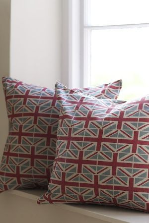 Emily Bond - Country Fabric Collection - Rows of Union Jacks completely covering two square scatter cushions