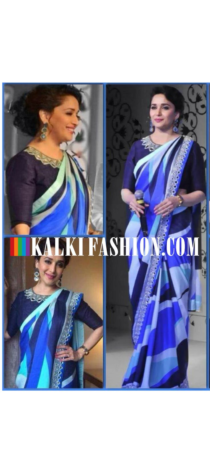 Madhuri Dixit  attended a tea brand launch draped in graphic print saree by Arpita Mehta. http://www.kalkifashion.com/