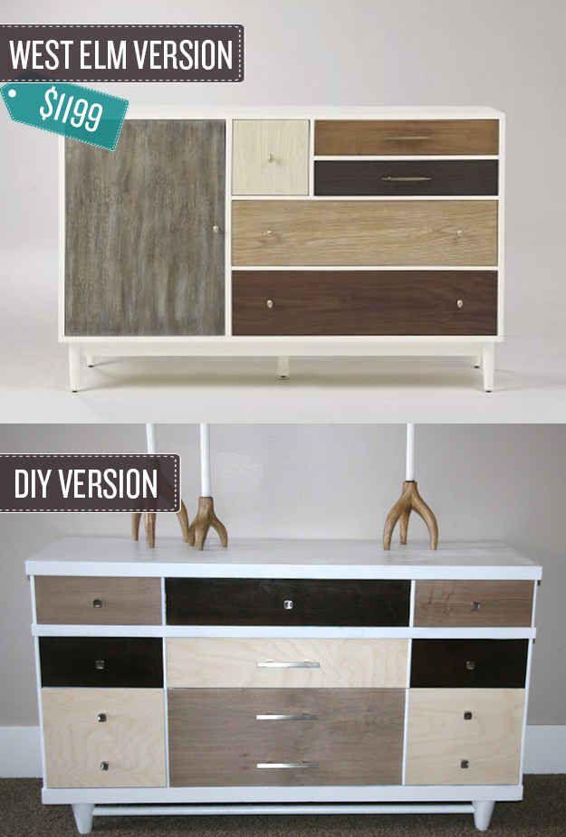 Turn an old dresser into a piece of statement furniture.   24 West Elm Hacks