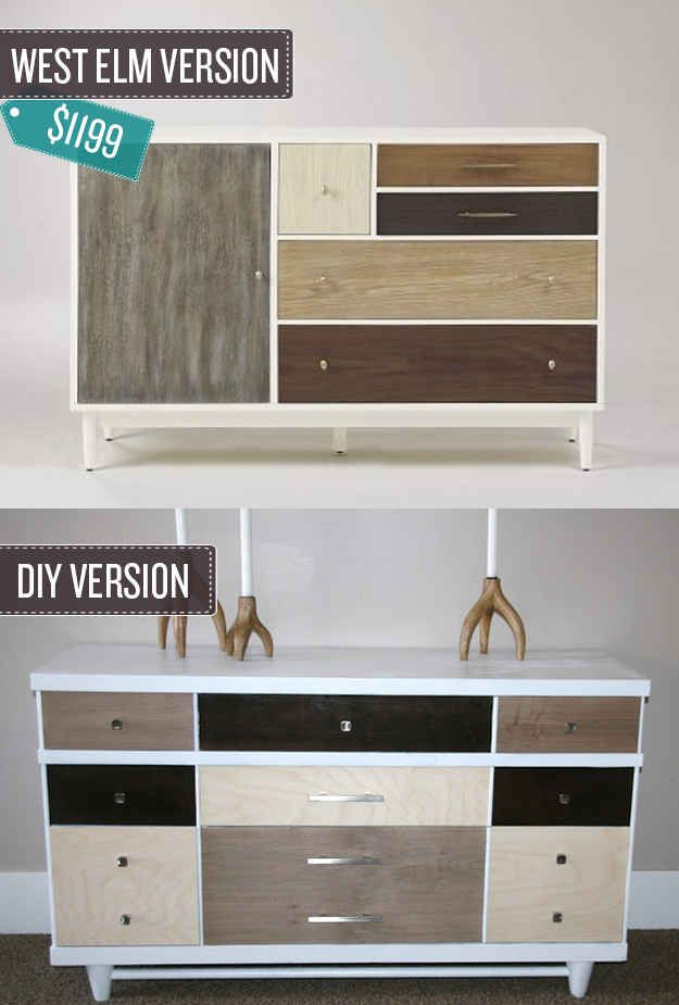 Turn an old dresser into a piece of statement furniture. | 24 West Elm Hacks